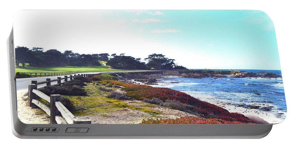 Golf Course Portable Battery Charger featuring the digital art 17 Mile Drive Shore Line II by Barbara Snyder