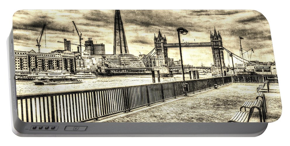 County Hall Portable Battery Charger featuring the digital art River Thames View by David Pyatt
