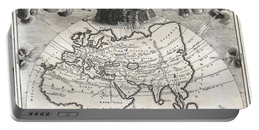A Rare And Beautifully Engraved Map Of The Old World Divided Into Seven Climatic Zones According To The Ancient Greek Geographer Strabo. Depicts Europe Portable Battery Charger featuring the photograph 1700 Cellarius Map Of Asia Europe And Africa According To Strabo by Paul Fearn