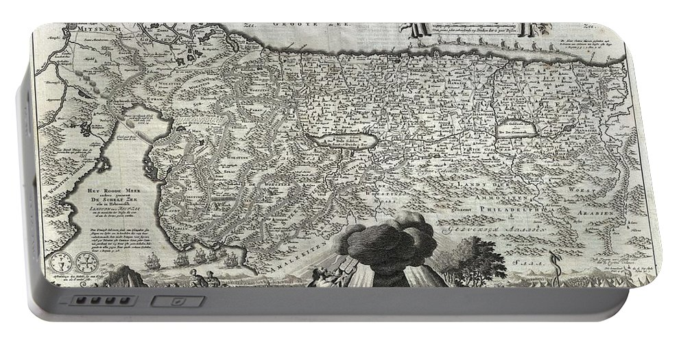 An Absolutely Stunning 1702 Map Of The Holy Land Portable Battery Charger featuring the photograph 1702 Visscher Stoopendaal Map Of Israel by Paul Fearn