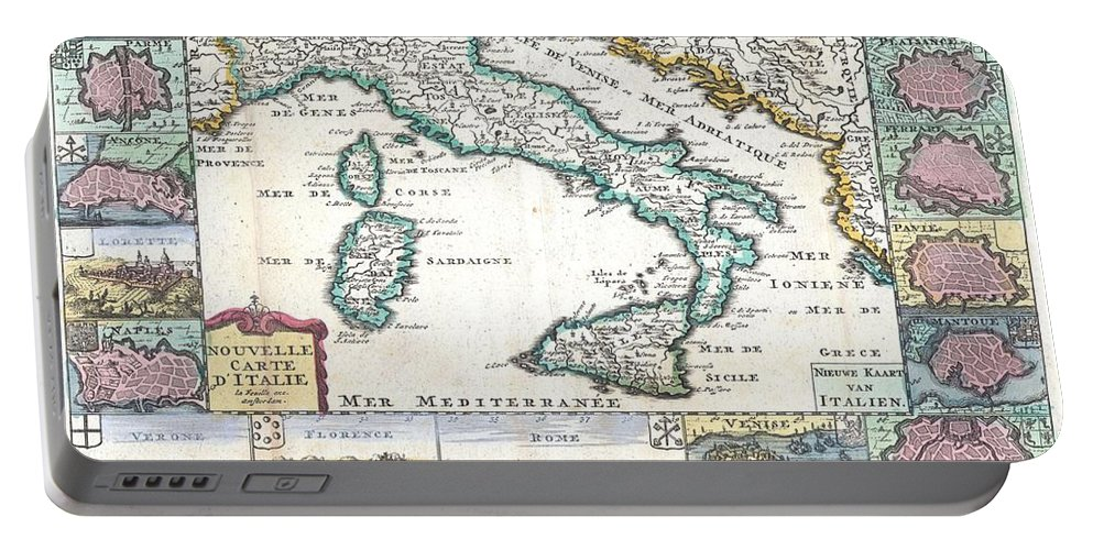 A Very Scarce Portable Battery Charger featuring the photograph 1706 De La Feuille Map Of Italy by Paul Fearn