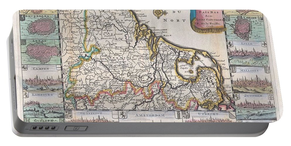 A Very Scarce Portable Battery Charger featuring the photograph 1710 De La Feuille Map Of The Netherlands Belgium And Luxembourg by Paul Fearn