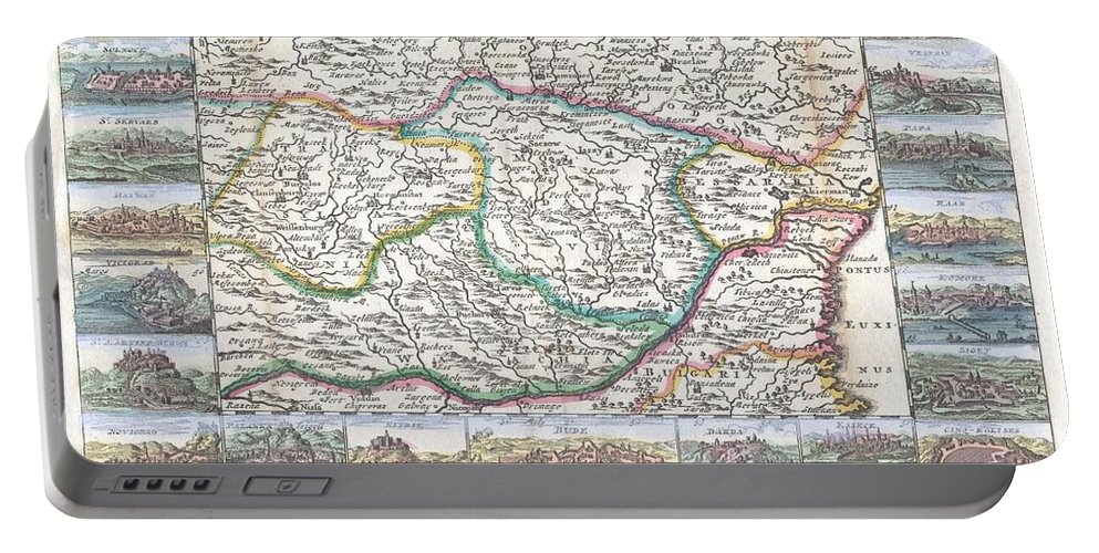 A Very Scarce Portable Battery Charger featuring the photograph 1710 De La Feuille Map Of Transylvania Moldova by Paul Fearn