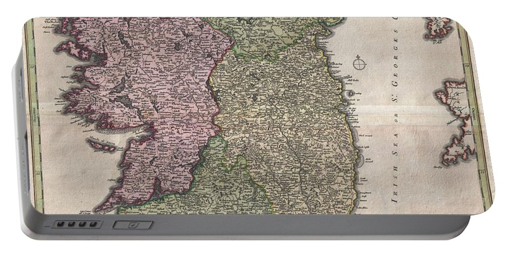 An Iconic C. 1716 Map Of Ireland By Johann Baptist Homann. A Fine Example Of Homann's Work Portable Battery Charger featuring the photograph 1716 Homann Map Of Ireland by Paul Fearn