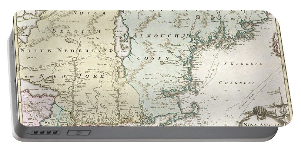 This Is A Spectacular And Historically Important 1714 Homann Map Depicting New England (united States). This Includes The Modern Day States Of New York Portable Battery Charger featuring the photograph 1716 Homann Map Of New England by Paul Fearn