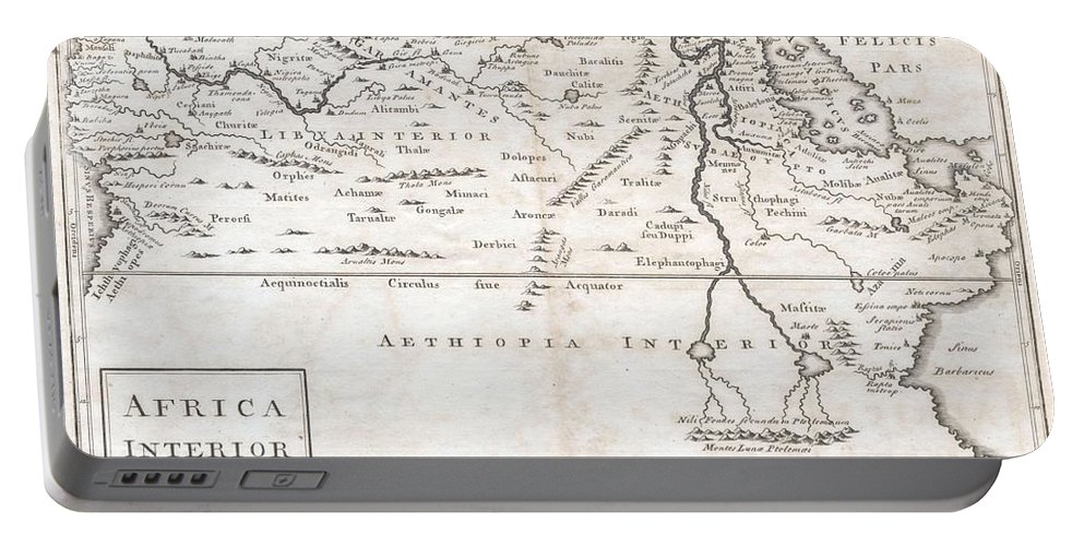 A Very Curious Map Of Central Africa Dating To Approximately 1730. Covers The Mid-section Of Africa Roughly From The Gulf Of Guinea And The Atlantic Eastward To The Red Sea And The Horn. Extends Southward As Far As Modern Day Tanzania. Full Of Curious And Often Spurious Information. Identifies The Kingdoms Of The Axuxmites In Modern Day Ethiopia Portable Battery Charger featuring the photograph 1730 Toms Map Of Central Africa by Paul Fearn