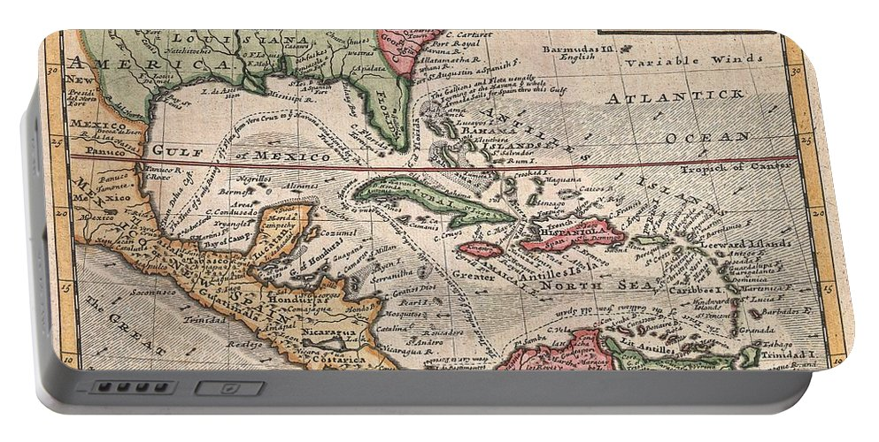This Is Herman Molls Small But Significant C. 1732 Map Of The West Indies. Moll's Map Covers All Of The West Indies Portable Battery Charger featuring the photograph 1732 Herman Moll Map Of The West Indies And Caribbean by Paul Fearn