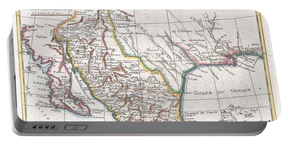 This Is A Beautiful C. 1780 Bonne Map Of Northern Mexico And Texas. Covers From The Pacific Ocean Through Mexico Portable Battery Charger featuring the photograph 1780 Raynal And Bonne Map Of Mexico And Texas by Paul Fearn