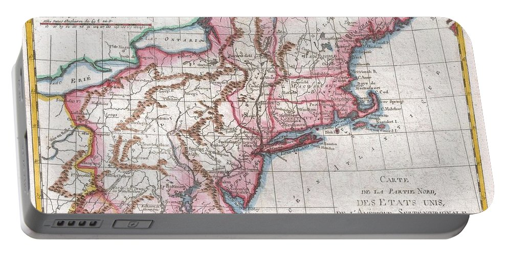 A Fine Example Of Rigobert Bonne And G. Raynal's 1780 Map Of The Northeastern United States Portable Battery Charger featuring the photograph 1780 Raynal And Bonne Map Of Northern United States by Paul Fearn