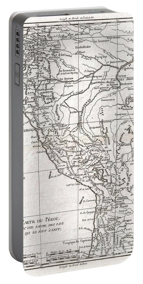 A Fine Example Of Rigobert Bonne And Guillaume Raynal's 1780 Map Of Peru. Covers From The Pacific Well Into The Amazon And As Far South As The Aconcagua Desert. Shows Tradewinds In The Pacific And Shows Mountains In Profile. A Number Of Important Indigenous Villages And Mission Stations Are Noted. Highly Detailed Portable Battery Charger featuring the photograph 1780 Raynal And Bonne Map Of Peru by Paul Fearn