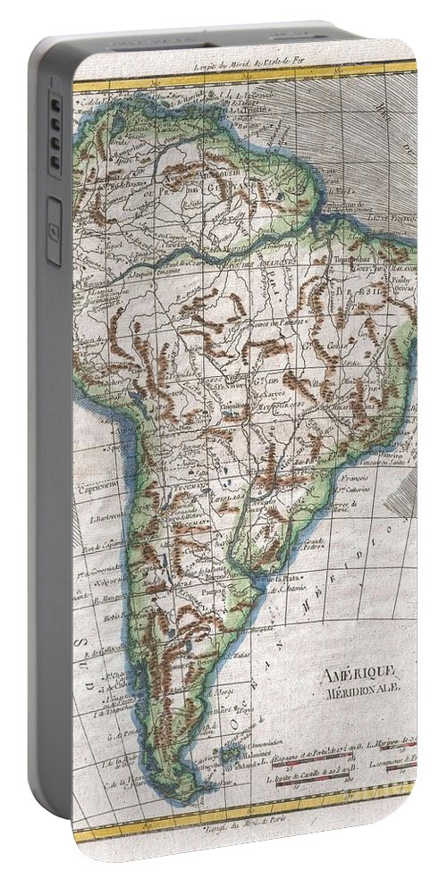 A Fine Example Of Rigobert Bonne And Guillaume Raynal's 1780 Map Of South America. Highly Detailed Portable Battery Charger featuring the photograph 1780 Raynal And Bonne Map Of South America by Paul Fearn