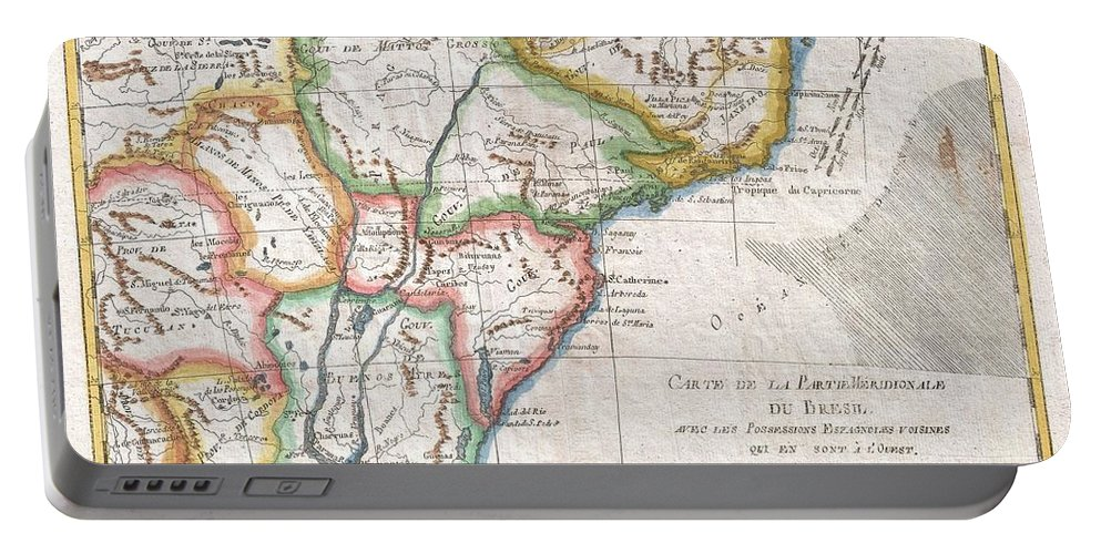 1780 Raynal And Bonne Map Of Southern Brazil Portable Battery Charger featuring the photograph 1780 Raynal And Bonne Map Of Southern Brazil Northern Argentina Uruguay And Paraguay by Paul Fearn