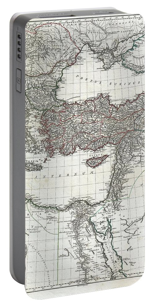 This Is The Stunning Eastern Sheet From Jean Baptiste Bourguignon D'anville's Two Map Set Depicting The Roman Empire. Depicts The Eastern Portion Of The Mediterranean Inclusive Of Greece And Extends Inland As Far As Modern Day Armenia. Contains The Whole Of The Black Sea (pontus Euxinus) And Extends South Well Into The Arabian Desert Portable Battery Charger featuring the photograph 1782 D Anville Map Of The Eastern Roman Empire by Paul Fearn
