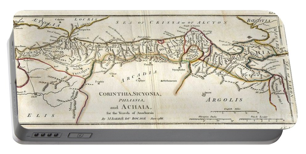 This Lovely Little Map Of Corinthia Portable Battery Charger featuring the photograph 1786 Bocage Map Of Corinthia Sicyonia And Achaia In Ancient Greece by Paul Fearn