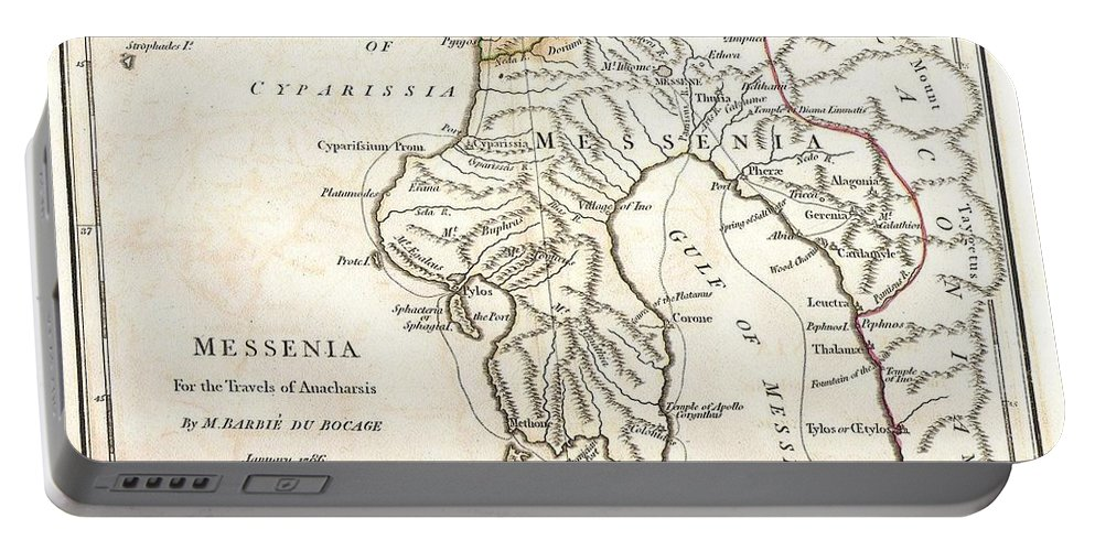 This Lovely Little Map Of Messenia Portable Battery Charger featuring the photograph 1786 Bocage Map Of Messenia In Ancient Greece by Paul Fearn