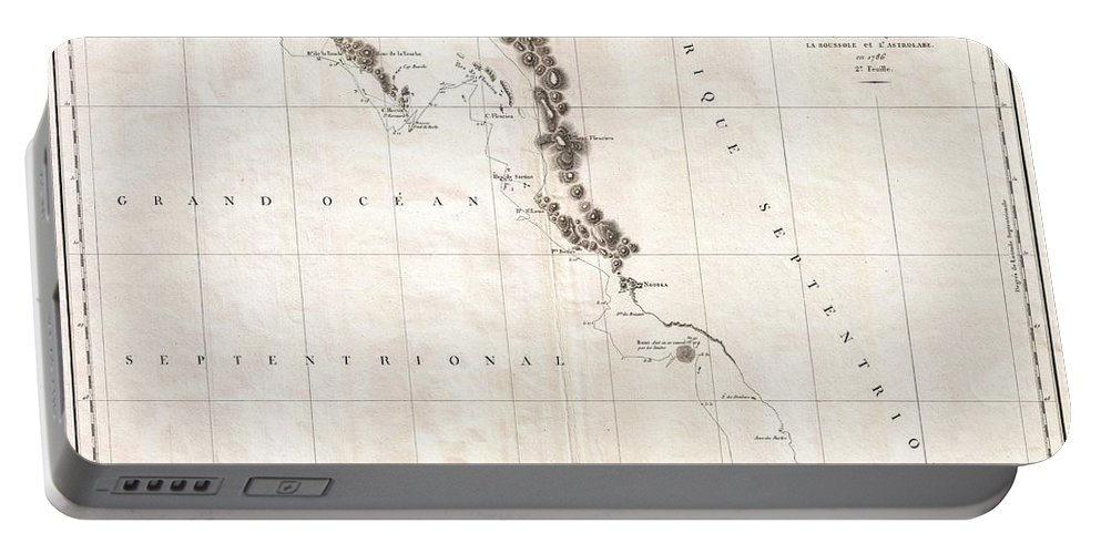 This Is A Fine Example Of La Perouse's Important 1787 Mapping Of Vancouver Island And The Coastlines Of Washington And British Columbia. When Drawn In 1787 La Perouse's Map Was The Only Available Map Of This Region Not Based On The Survey Work Of Captain Cook. The Map Covers The Coastline From Cape Rond (tillamook Head Portable Battery Charger featuring the photograph 1786 La Perouse Map Of Vancouver And British Columbia Canada by Paul Fearn