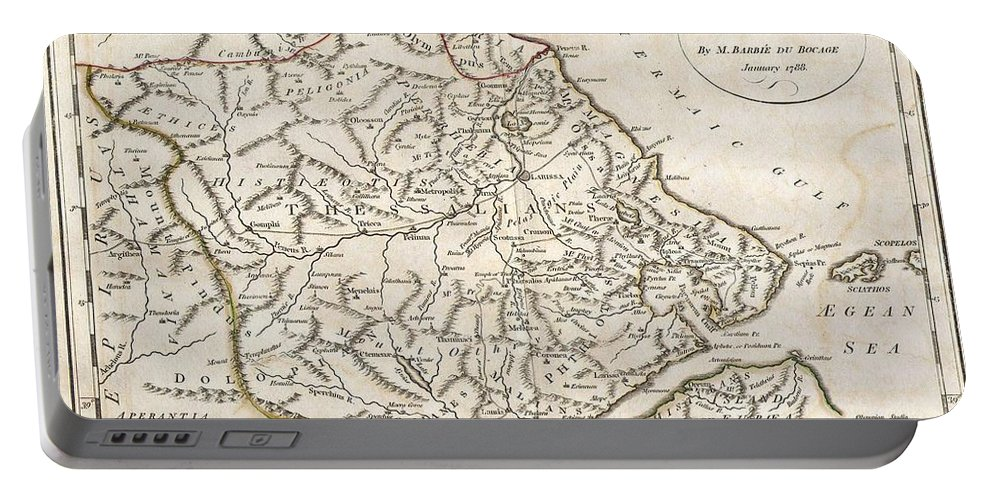 This Lovely Little Map Of Thessaly Portable Battery Charger featuring the photograph 1788 Bocage Map Of Thessaly In Ancient Greece by Paul Fearn