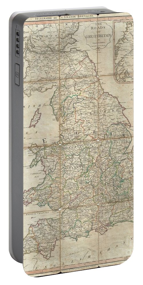 A Very Attractive Example Of Faden's Desirable Roads Of Great Britain In Its Second Edition Portable Battery Charger featuring the photograph 1790 Faden Map Of The Roads Of Great Britain Or England by Paul Fearn