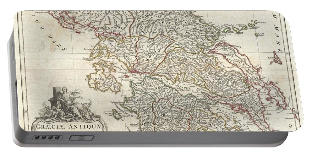 A Large And Dramatic J. B. B. D'anville Map Of Ancient Greece. Covers From Macedonia To The Peloponnesus Portable Battery Charger featuring the photograph 1794 Anville Map Of Ancient Greece by Paul Fearn