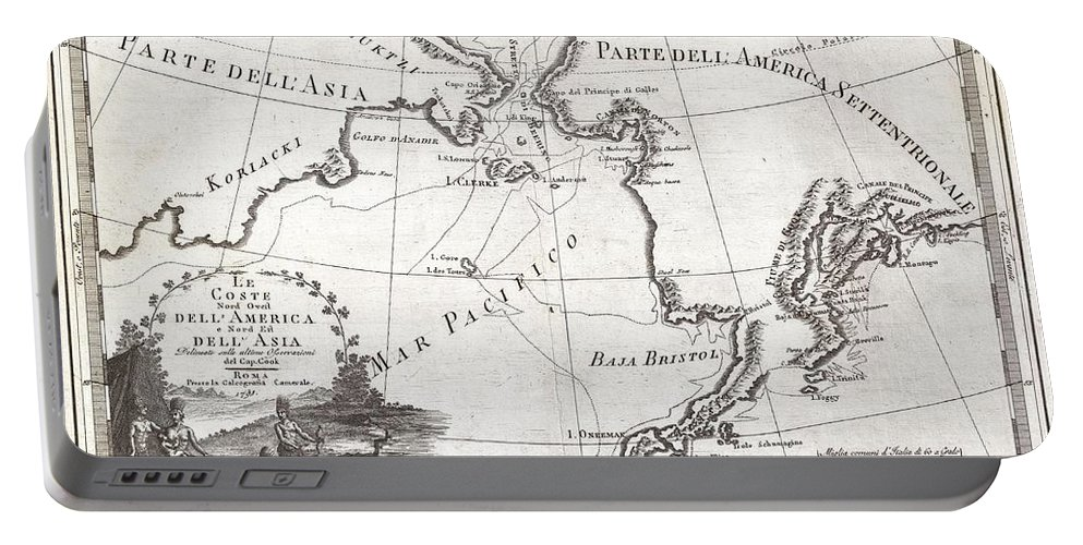 An Extraordinarily Fine Example Of Cassini's 1798 Map Of Alaska Portable Battery Charger featuring the photograph 1798 Cassini Map Of Alaska And The Bering Strait by Paul Fearn