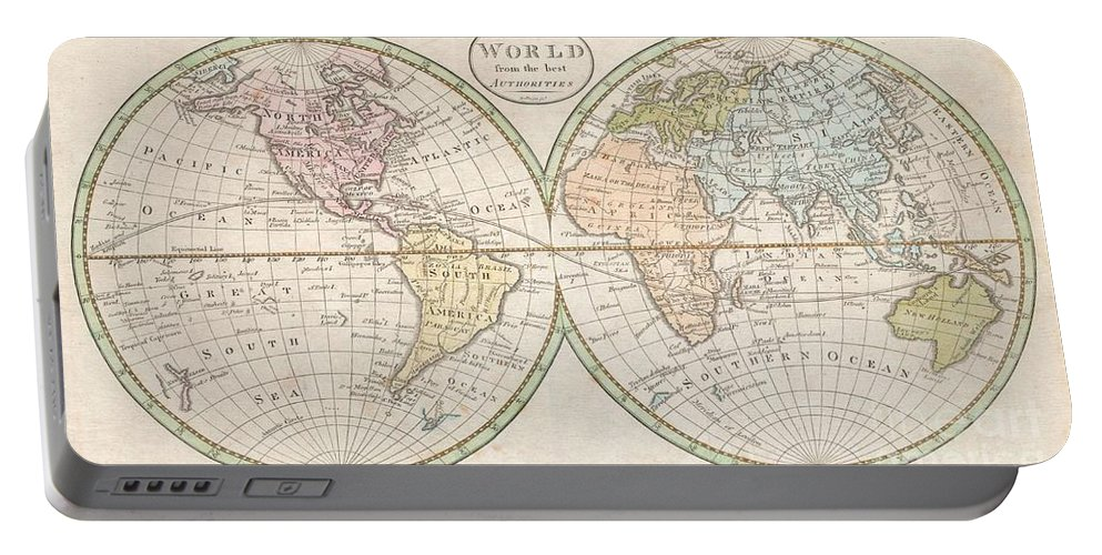 : An Extremely Rare And Unusual Map Of The World. Printed In 1798 Portable Battery Charger featuring the photograph 1798 Payne Map Of The World by Paul Fearn