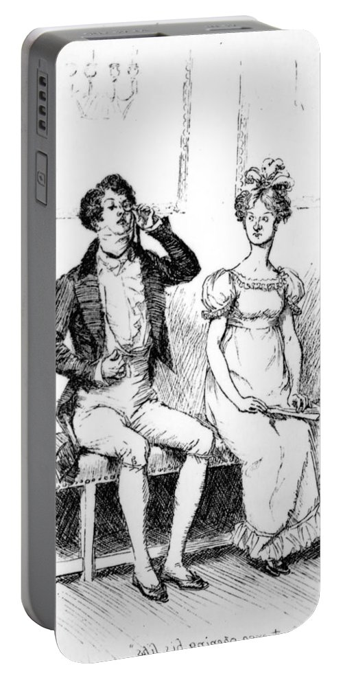 Without Once Opening His Lips; Illustration; Pride And Prejudice; Jane Austen; Mr; Darcy; Mrs; Long; Meryton Assembly; Dance; Illustrated; Edition; Seated; Next To; Silent; Antisocial; Unsociable; Unfriendly; Georgian; Regency; Costume; Character Portable Battery Charger featuring the drawing Scene From Pride And Prejudice By Jane Austen by Hugh Thomson