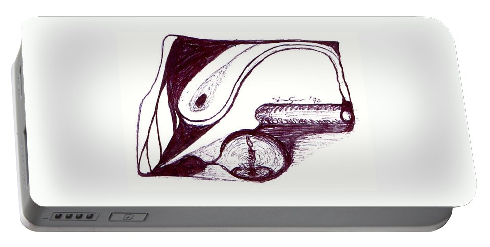 Pen Portable Battery Charger featuring the drawing 1800s by Steve Sommers