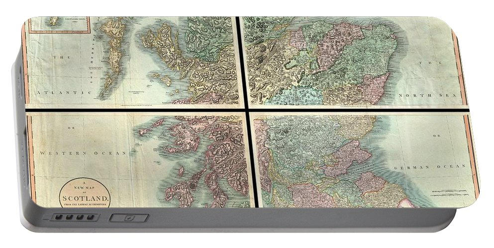 A Very Attractive Example Of John Cary's Stupendous Four Sheet 1801 Map Of Scotland. Covers The Entirety Of Scotland As Well As Parts Of Neighboring England And Ireland. Inset Maps Detail The Orkney Islands And The Shetland Islands. Offers Extraordinary Detail On The Whole Of Scotland With Special Attention To Topography Portable Battery Charger featuring the photograph 1801 Cary Map Of Scotland by Paul Fearn
