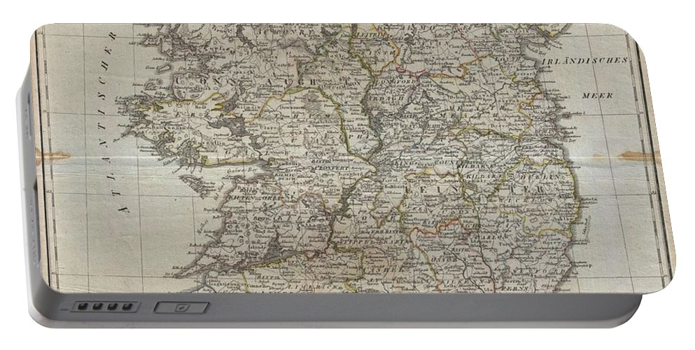 An Uncommon Map Of Ireland Dating To 1804. Though Published By The German Geographical Institute Portable Battery Charger featuring the photograph 1804 Jeffreys And Kitchin Map Of Ireland by Paul Fearn