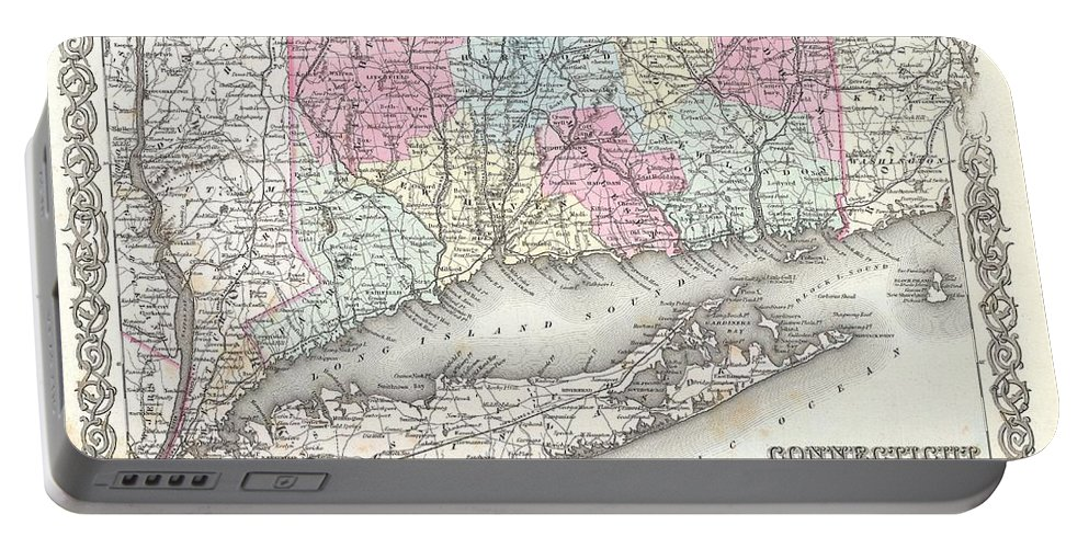 Portable Battery Charger featuring the photograph 1855 Colton Map Of Connecticut And Long Island by Paul Fearn