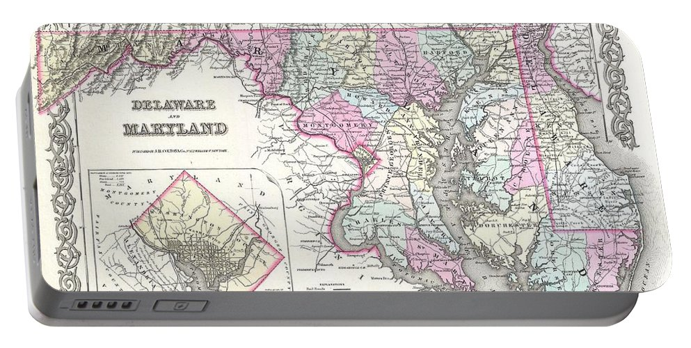 Portable Battery Charger featuring the photograph 1855 Colton Map Of Delaware Maryland And Washington Dc by Paul Fearn