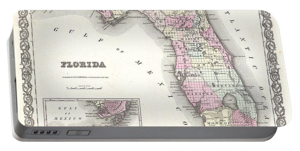 Portable Battery Charger featuring the photograph 1855 Colton Map Of Florida by Paul Fearn