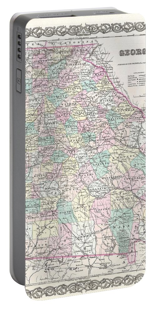 Portable Battery Charger featuring the photograph 1855 Colton Map Of Georgia by Paul Fearn