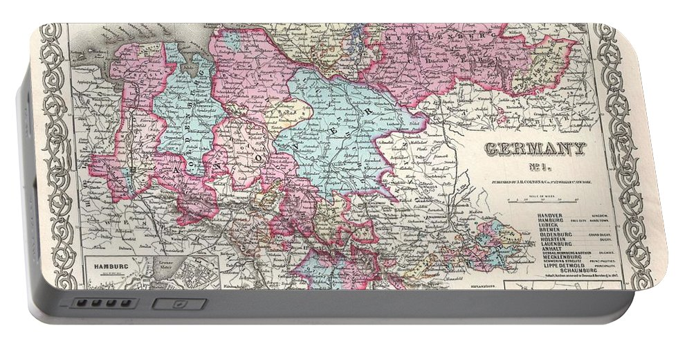 Portable Battery Charger featuring the photograph 1855 Colton Map Of Hanover And Holstein Germany by Paul Fearn