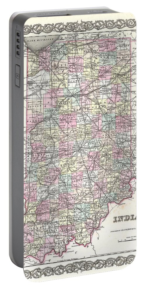 Portable Battery Charger featuring the photograph 1855 Colton Map Of Indiana by Paul Fearn