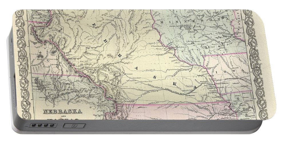 Portable Battery Charger featuring the photograph 1855 Colton Map Of Kansas And Nebraska by Paul Fearn