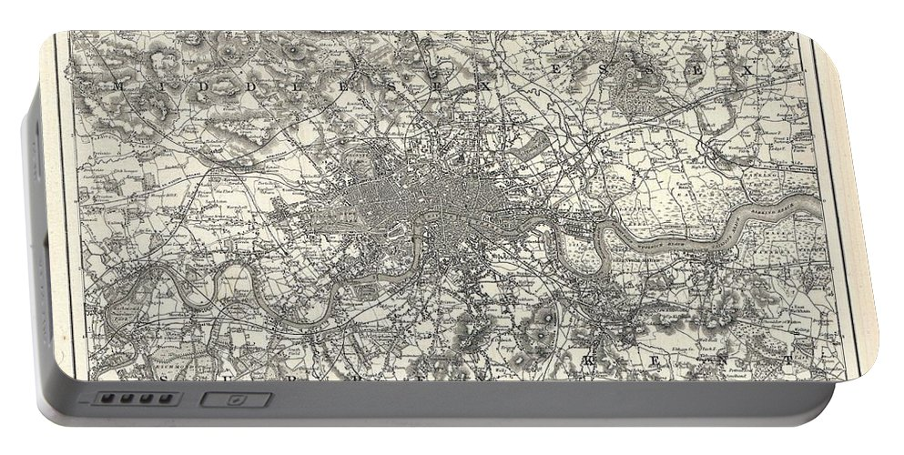 Portable Battery Charger featuring the photograph 1855 Colton Map Of London by Paul Fearn