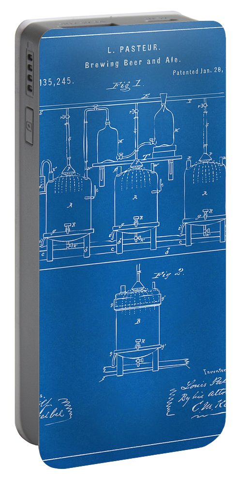 Beer Portable Battery Charger featuring the digital art 1873 Brewing Beer And Ale Patent Artwork - Blueprint by Nikki Marie Smith