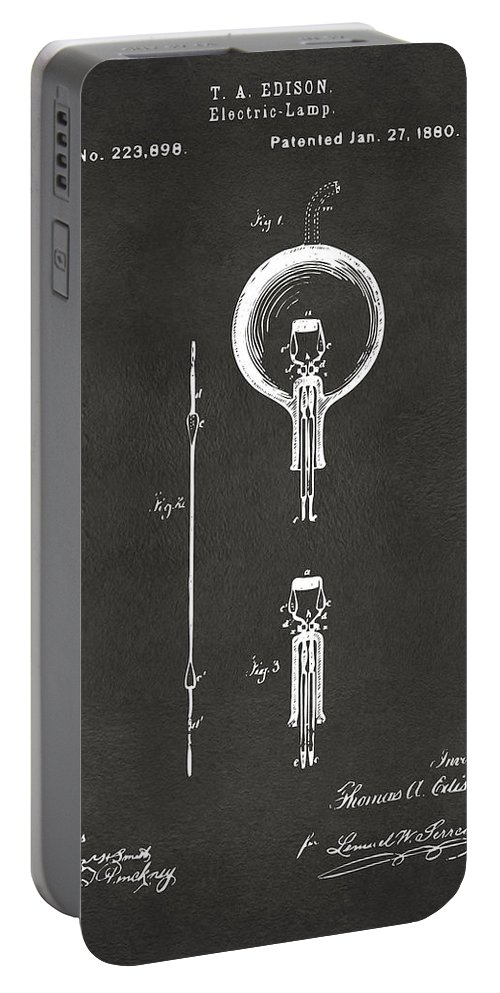 Edison Portable Battery Charger featuring the digital art 1880 Edison Electric Lamp Patent Artwork - Gray by Nikki Marie Smith