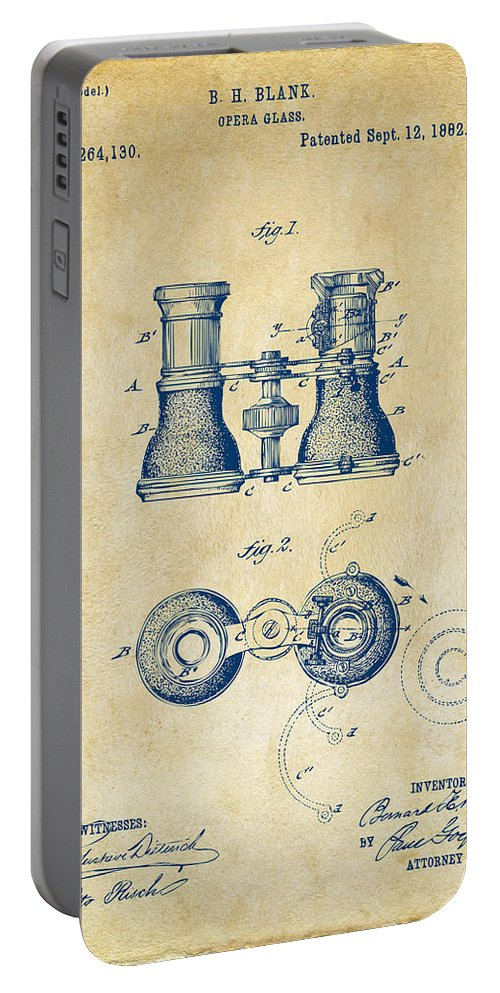 Opera Glasses Portable Battery Charger featuring the digital art 1882 Opera Glass Patent Artwork - Vintage by Nikki Marie Smith