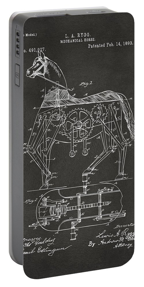 Horse Portable Battery Charger featuring the digital art 1893 Mechanical Horse Toy Patent Artwork Gray by Nikki Marie Smith