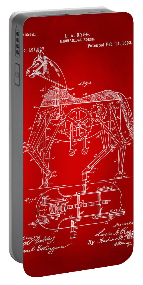 Bicycle Portable Battery Charger featuring the digital art 1893 Mechanical Horse Toy Patent Artwork Red by Nikki Marie Smith