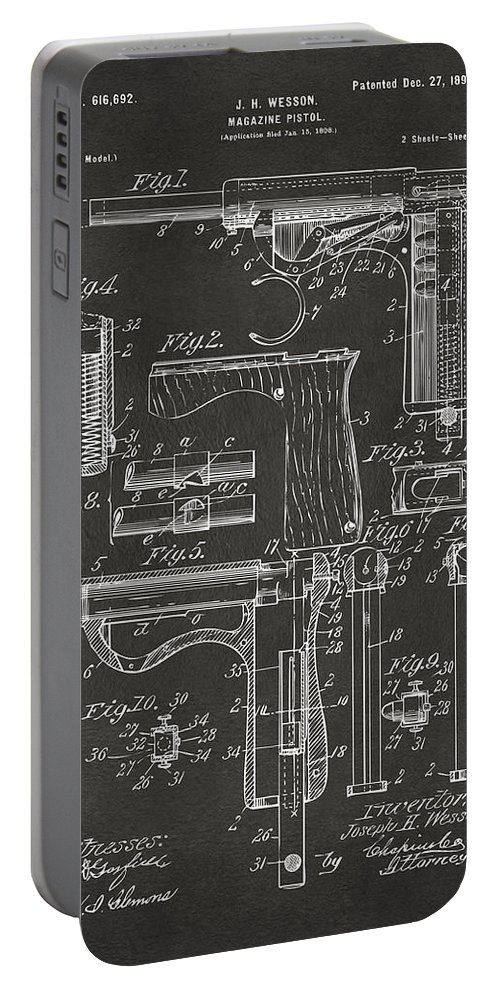Wesson Pistol Portable Battery Charger featuring the digital art 1898 Wesson Magazine Pistol Patent Artwork - Gray 1898 by Nikki Marie Smith