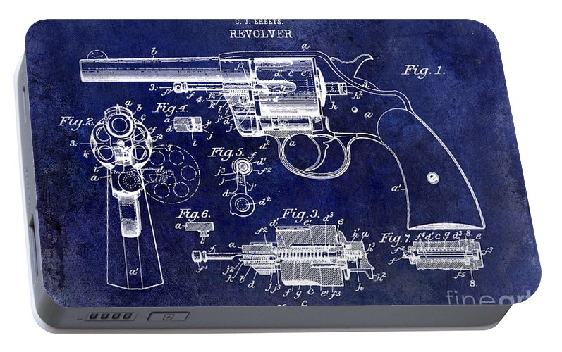 Colt Revolver Portable Battery Charger featuring the photograph 1903 Colt Revolver Patent Drawing Blue by Jon Neidert