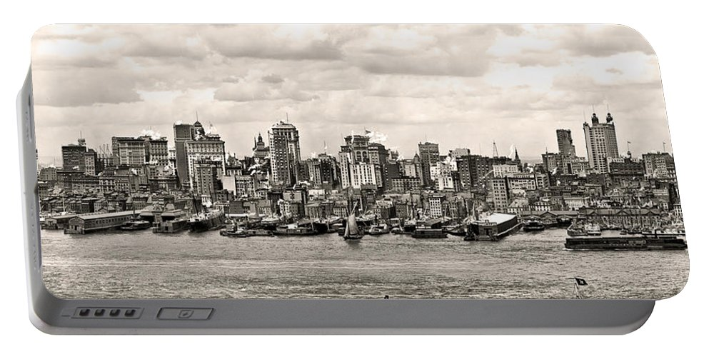 1906 Manhattan Panorama Portable Battery Charger featuring the photograph 1906 Manhattan Panorama by Bill Cannon
