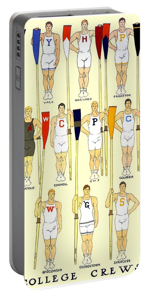 College Portable Battery Charger featuring the digital art 1910 - College Crew Poster - Rowing - Edward Penfield - Color by John Madison