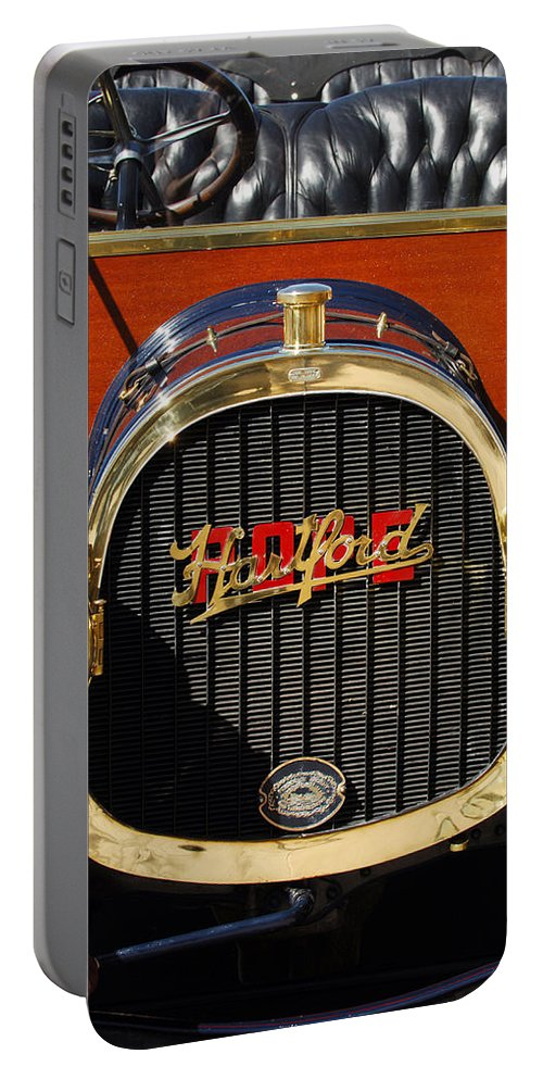 1910 Pope Hartford Model T Grille Emblem Portable Battery Charger featuring the photograph 1910 Pope Hartford Model T Grille Emblem by Jill Reger