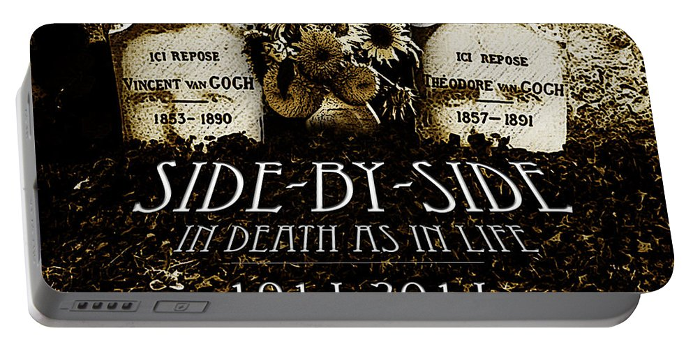 1914 - 2014 Side By Side - In Death As In Life Portable Battery Charger featuring the drawing 1914 - 2014 Side By Side - In Death As In Life by Jose A Gonzalez Jr