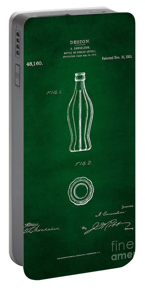 Coca Cola Bottle Patent Art Portable Battery Charger featuring the digital art 1915 Coca Cola Bottle Design Patent Art 4 by Nishanth Gopinathan