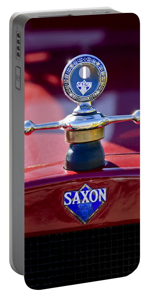 1915 Saxon Roadster Portable Battery Charger featuring the photograph 1915 Saxon Roadster Hood Ornament by Jill Reger